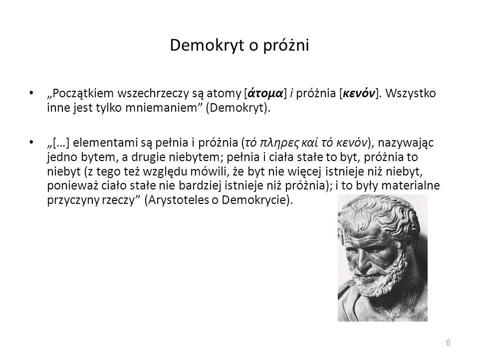 """Demokryt o próżni """"Początkiem wszechrzeczy są atomy [άτομα] i próżnia [κενόν]. Wszystko inne jest tylko mniemaniem (Demokryt)."""